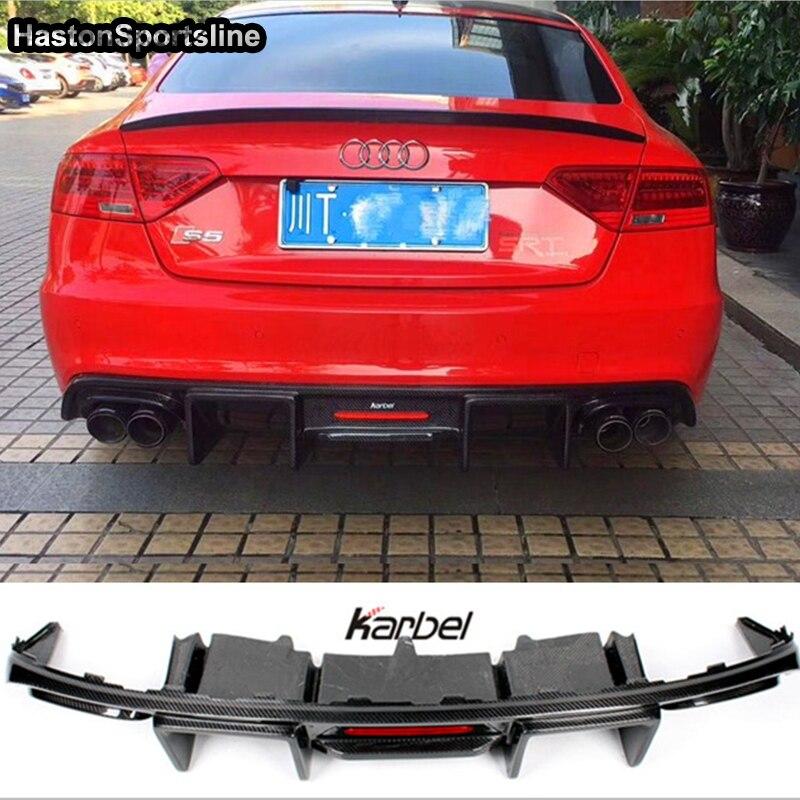 Becquet diffuseur arrière Audi S5 Sline | En Fiber de carbone, pour Audi S5 Sline uniquement, style de voiture 2013 2016|Pare-chocs|   - AliExpress