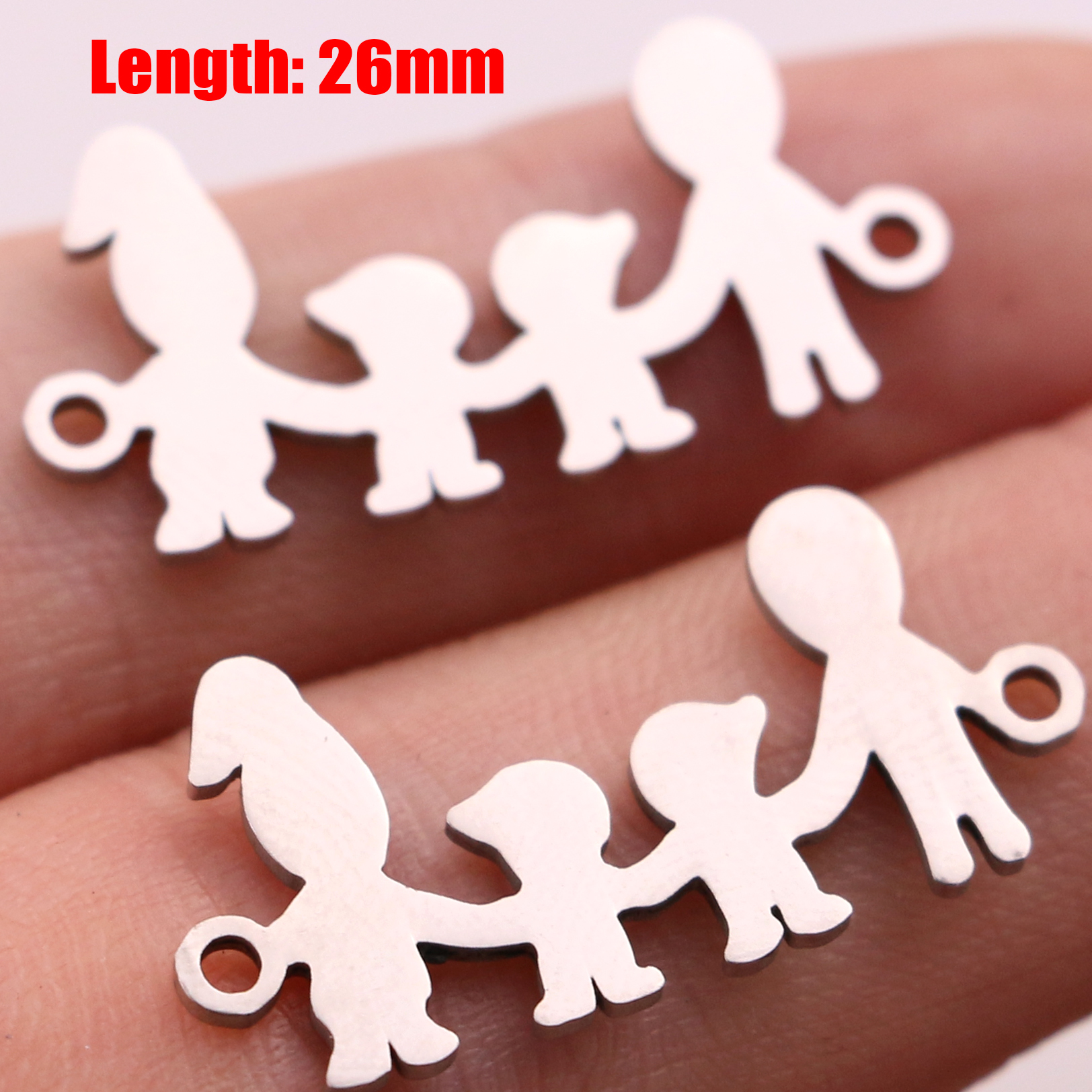 5pcs Family Chain Stainless Steel Pendant Necklace Parents and Children Necklaces Gold/steel Jewelry Gift for Mom Dad New Twice - Цвет: Steel 36