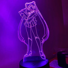 Luz da noite 3d anime personagem sailor moon para a menina quarto decorado luzes led presente de aniversário dropshipping luzes da noite
