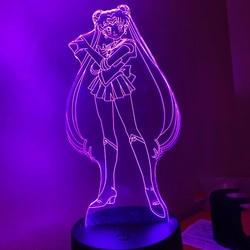 Светодиодный ночсветильник с 3d-изображением персонажа аниме Сейлор Мун, украсветильник для спальни, подарок на день рождения, Прямая поста...