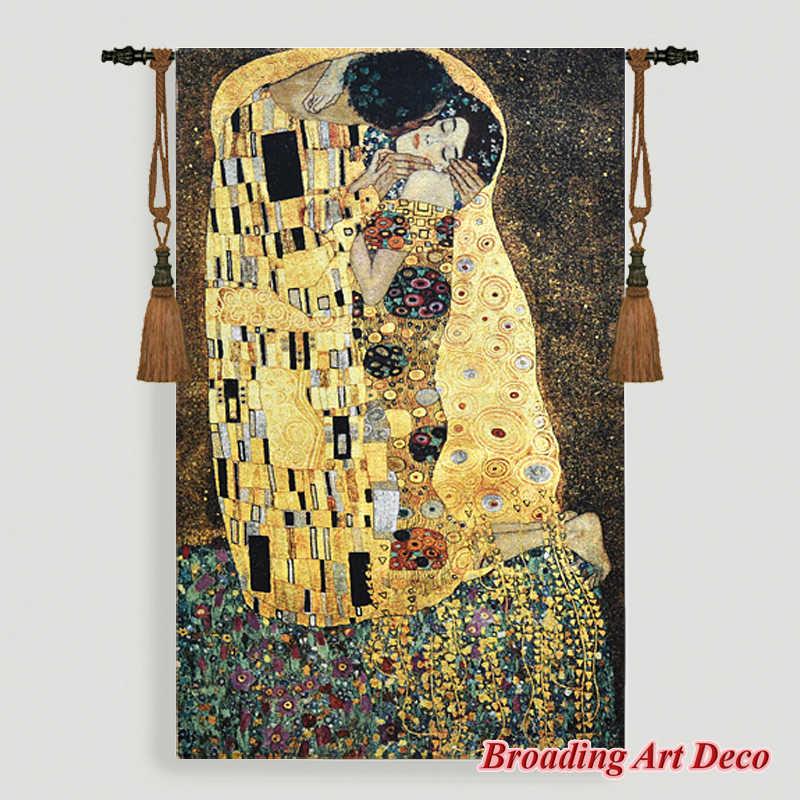 Gustav Klimt öpücük (altın) goblen duvar asılı jakarlı örgü goblen ev tekstili sanat dekorasyon Aubusson pamuk % 100%