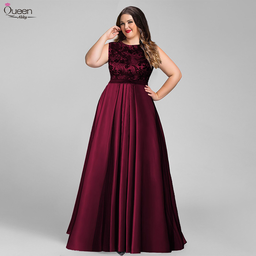 Plus Size Tulle Evening Dresses Burgundy Long Appliques Queen Abby A-Line O-Neck Sleeveless Elegant Formal Wedding Guest Gowns