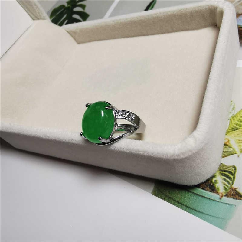 Jadery Real 925 เงินชุดเครื่องประดับสำหรับผู้หญิง CZ สีเขียวมรกตหยกแหวน/สร้อยคอ/ต่างหู VINTAGE งานแต่งงานหญิงของขวัญ