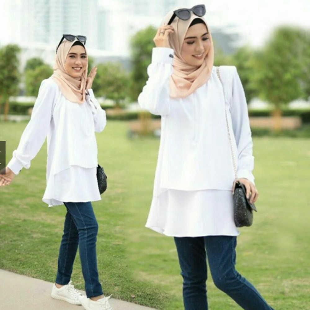Siskakia Muslimische Frauen Tops Weiß O neck Langarm Solide pudding Blusen Grüne Mode Lässig Mittleren Östlichen Malaysia Kleidung