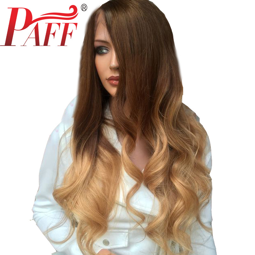 PAFF 13*4 Brazilian Wavy 4 27 Color Lace Front Human Hair Wigs For Women Ombre Color Remy Hair Glueless Pre Plucked Baby Hair