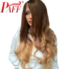 PAFF 13*4 Brazilian Wavy 4 27 Color Lace Front Human Hair Wigs For Women Ombre Color Remy Hair Glueless Pre Plucked Baby Hair цена 2017