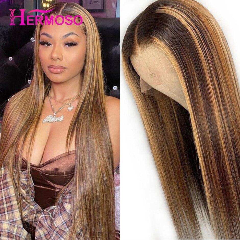 Resaltar Peluca de color marrón pelucas de cabello humano 13X4 Ombre recto peluca con malla frontal destacar frente de encaje pelucas de cabello humano HERMOSO