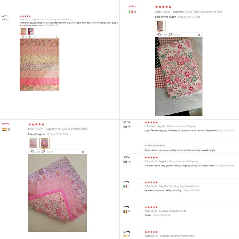 Teramila 7 개/몫 라이트 핑크 점 및 꽃 디자인 패치 워크 100% 코 튼 원단 조직 Scrapbooking 바느질 DIY 패치