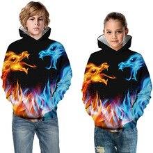 3D Hoodies Space-Suit Skull Print Sweatshirts Pullover Lion Girls Boys Kids Paint-Wolf