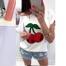 Sexy Off Shoulder Top T-shirt Vrouwen T-shirt Sequin Cherry Applique T-shirts Tops Plus Size 5XL Tee Shirt Femme TQ0215T(China)