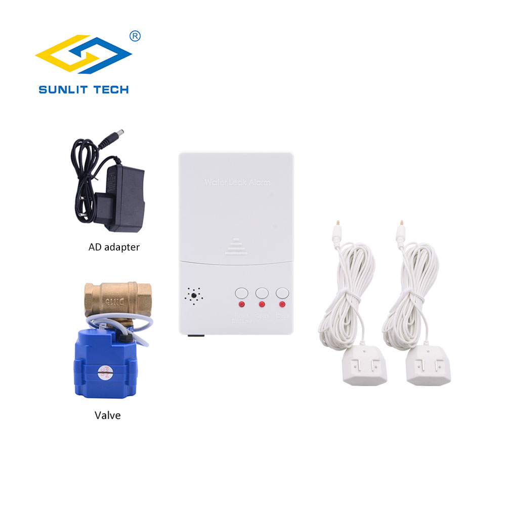Russian Shipping Home Smart Water Leak Detector With 1pc DN20 Valve Water Leakage Sensor For Home Kitchen Security Alarm System