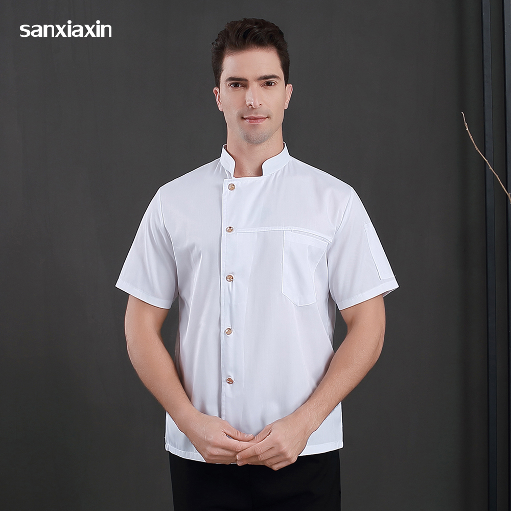 High Quality Short Sleeved Chef Jackets Food Service Chef Uniforms Restaurant Hotel Chef Shirt Catering Work Clothes Men M-4XL