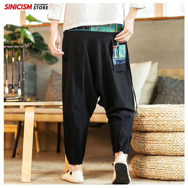 Sinicism Store Chinese Cross-Pants Men 2020 Autumn Oversize Fashion Mens Patchwork Button Pants Male Wide-legged Loose Pants 38