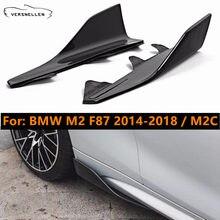 2 pces real da fibra do carbono lateral saia winglets para bmw m2 f87 2014-2018 m2c m2 competição 2019 corpo pára-choques divisores laterais cupwings