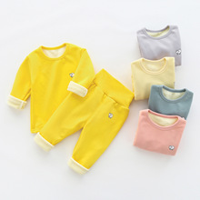 Thermal-Underwear-Set Girls Winter Plush-Pajamas Belly-Protection Velvet Baby High-Waist