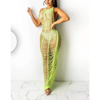 2021 Women Summer Solid Color Beach Dress Scoop Neck Outlet Cover Up Swimwear New Items Sexy Clothing Hot Bikini Halter Smock 2