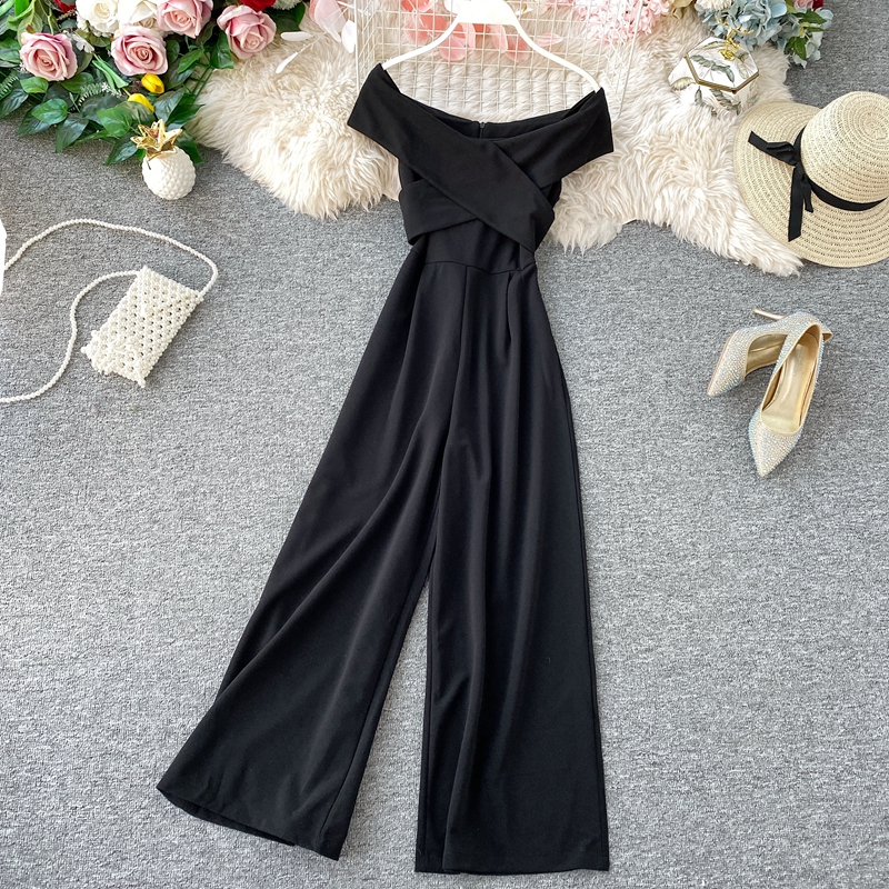 H5adae608948848b58126c83edb59ec42W - New Summer Fashion Rompers For Women Sexy Slash Neck Party Elegant Jumpsuit Ladies Black Casual Backless Bodysuit Korean