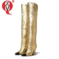 ZVQ 2019 autumn newest over knee boots outside super high heels square toe high quality woman boots plus size women shoes