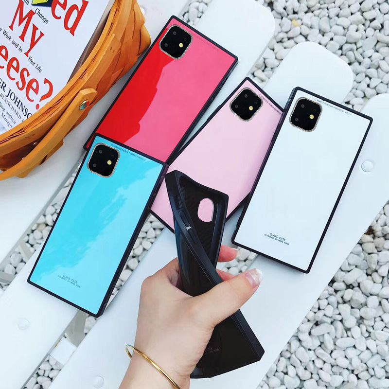 Fashion Square Candy Color Phone Case For iPhone 11 Pro Max Soft Silicon Mirror Coque For iPhone Xs Max Xr X 8 7 6s 6 Plus Cover