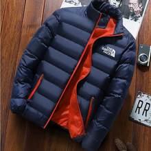 XXXXL Новая зимняя мужская куртка 2020, модная мужская парка с воротником-стойкой, мужские однотонные толстые куртки и пальто, мужские зимние па...