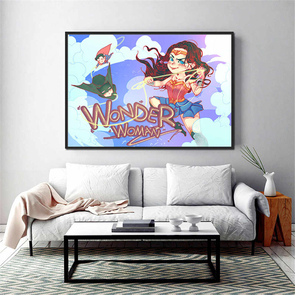 חמוד יפה סופר גיבור וונדר אישה קיר סופר סרט ציור שחור פנתר אמנות בד פוסטר ענק הדפסת תמונה Quadro