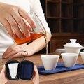 Высококачественный портативный чайный набор включает 3 чайных чашки 1 гайвань 1 пакетик  китайский туристический белый фарфор кунг-фу чайна...