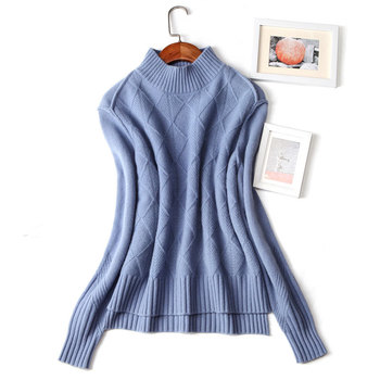 Autumn winter women's cashmere sweater half-high collar thickening ladies sweater bottoming sweater sweater solid color sweater фото