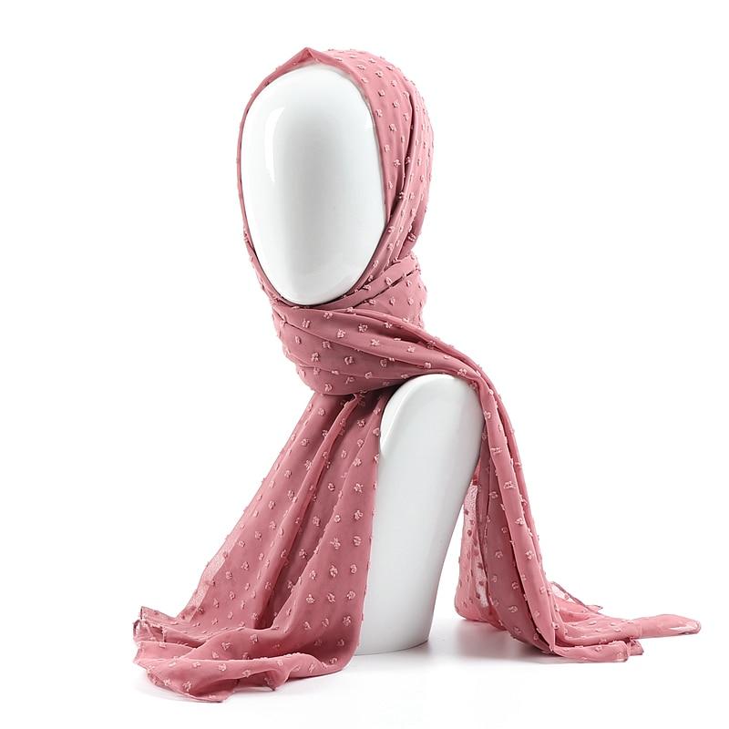 One piece solid plain dots hijab scarf islam shawl head wraps soft long muslim plumetis chiffon