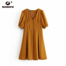 ROHOPO Double Layer Buttons Fly Solid Orange Dress Autumn Lantern Sleeve Flared Pleated Chid Girl Vestido #6237 цена