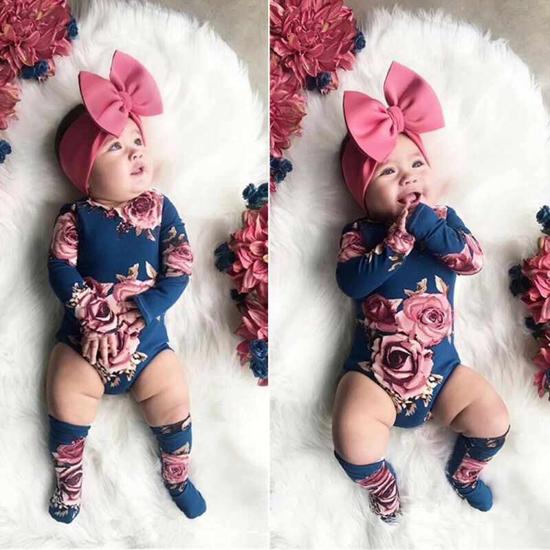 Newborn Baby Girl Bodysuit  Long Sleeve Romper Leg Wamer Socks Outfit 0-24M