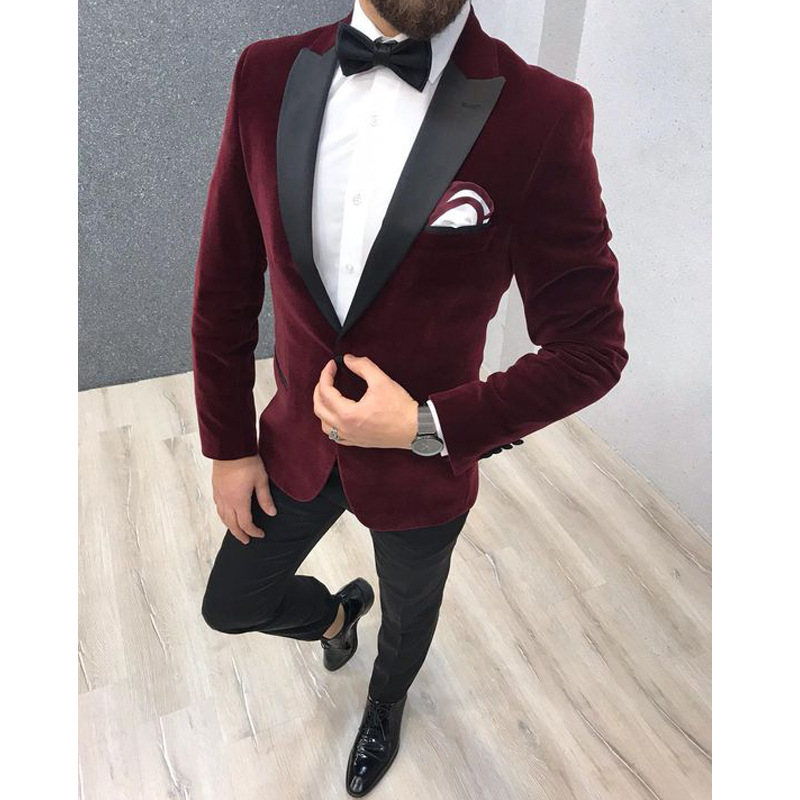 Burgundy Tuxedo 2 Pieces Men's Suits for Wedding Traje Slim Fit Hombre Groom Suits Custom Wedding Tuxedos Suits Jacket+Pants