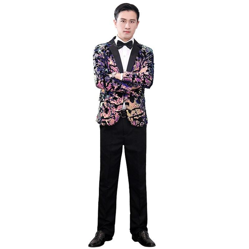 Men's New Fashion Flat Velvet Gold Sequined Velvet Slim Suit Jacket Exquisite Gold Floral Sequin DJ Singer Wedding Set