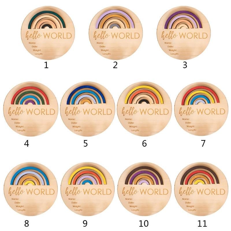 Wooden Rainbow Milestone Cards Growth Commemorate Baby Monthly Recording Card