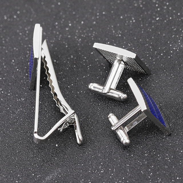 Men's Business  Geometric Square Blue Grid Tie Clips & Cufflinks  3
