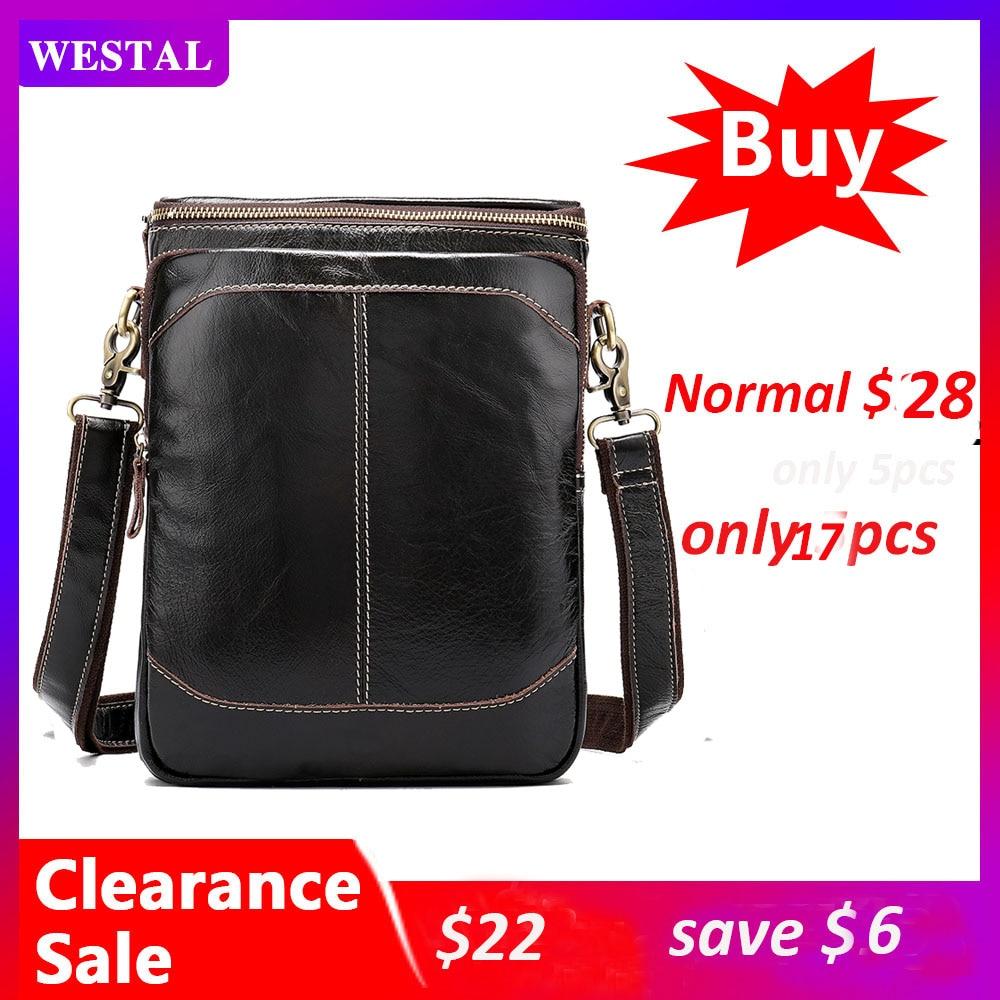 WESTAL Clearance Shoulder Bags for Men Bag Genuine Leather Men Messenger Crossbody Bags Male Flap Man Handbags Leather 8003Crossbody Bags   -