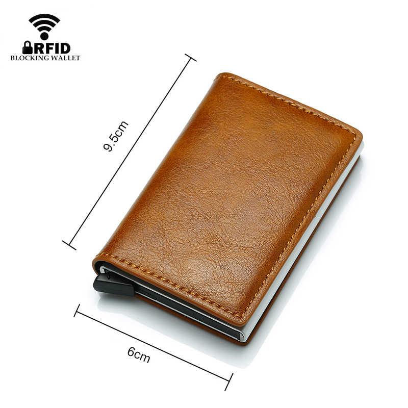 DIENQI Anti RFID ป้องกันผู้ชายผู้หญิงบัตรเครดิตเงินหนัง Slim MINI กระเป๋าโลหะอลูมิเนียม Business Card Case กระเป๋า