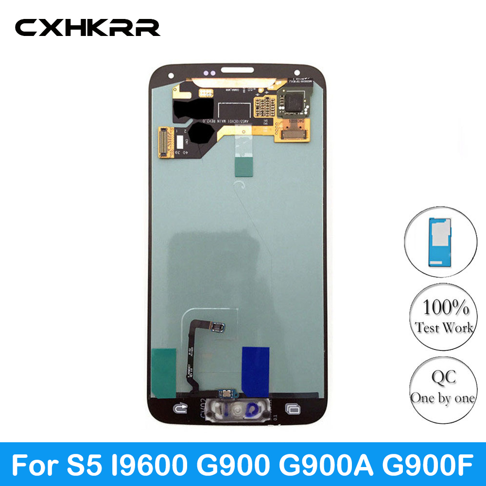 CXHKRR LCD For Samsung Galaxy S5 I9600 G900 G900A G900F LCD <font><b>Display</b></font> Screen Touch Digitizer Assembly Sticker image