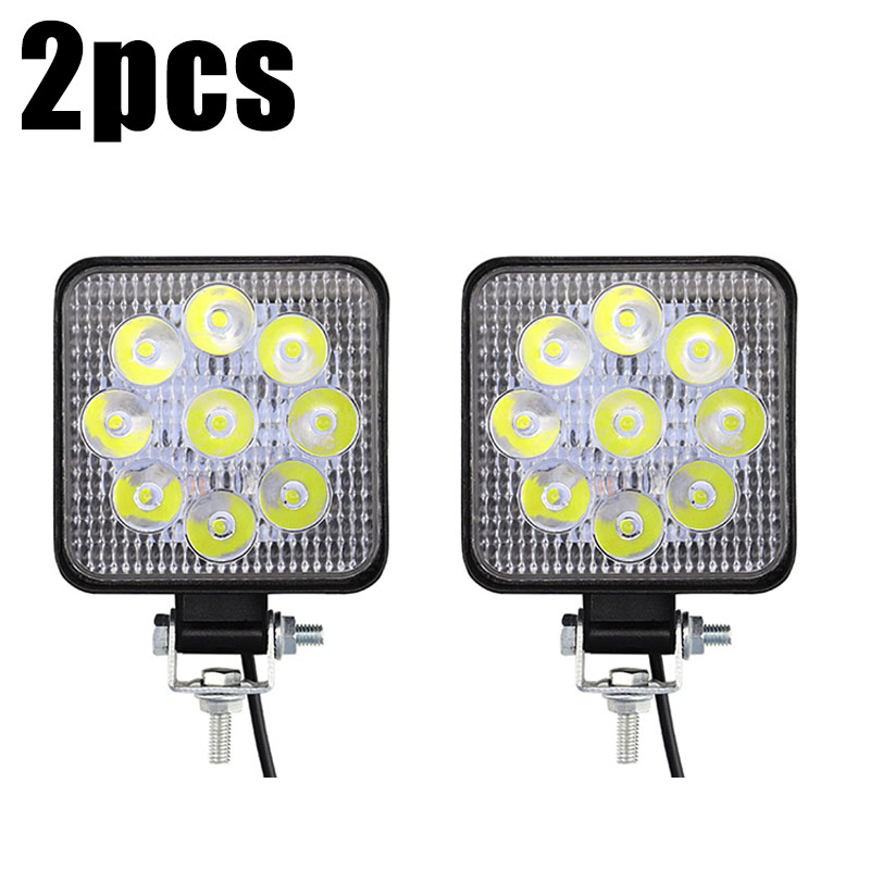 2pcs 12V 24V Car Truck LED Spot Beam White Work Lights MINI 27W 9-LED Boat Marine Working Light Bar Off-Road Driving Fog Lamp