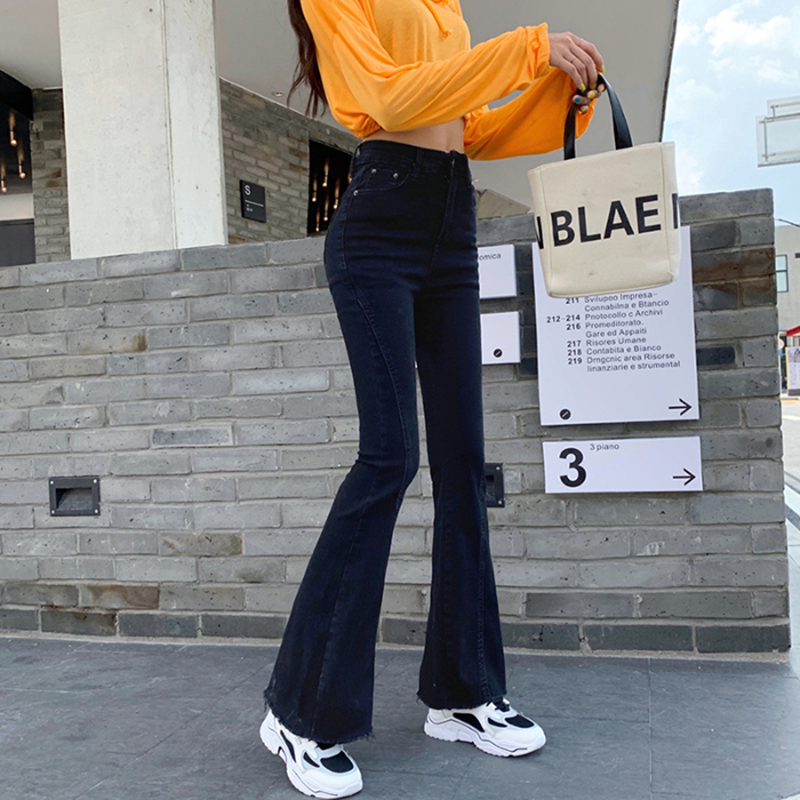 Flare Jeans Trousers Stretch Denim Bell Skinny Slim High-Waisted Female Womens Casual