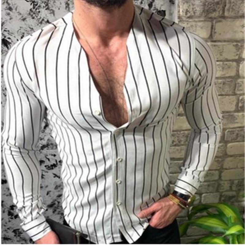 2019 Autumn Slim Modis Men's Long Sleeve Shirt Cool Stripe Casual V-Neck Casual Dress Shirts Male Blouse Shirt Plus Size
