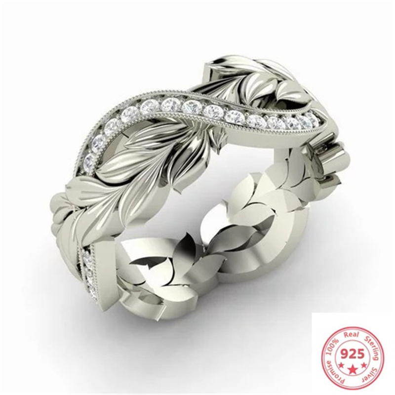 Feather 100% 925 Sterling Silver Wedding Diamond Ring For Women Luxury White Topaz Gemstone Bizuteria Anillos S925 Sliver Rings