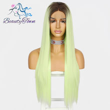 Beautytown Handtied Straight Ombre Groene Pruik Cosplay Drag Queen Celebrity Meisje Wedding Holiday Party Synthetische Lace Front Pruiken(China)