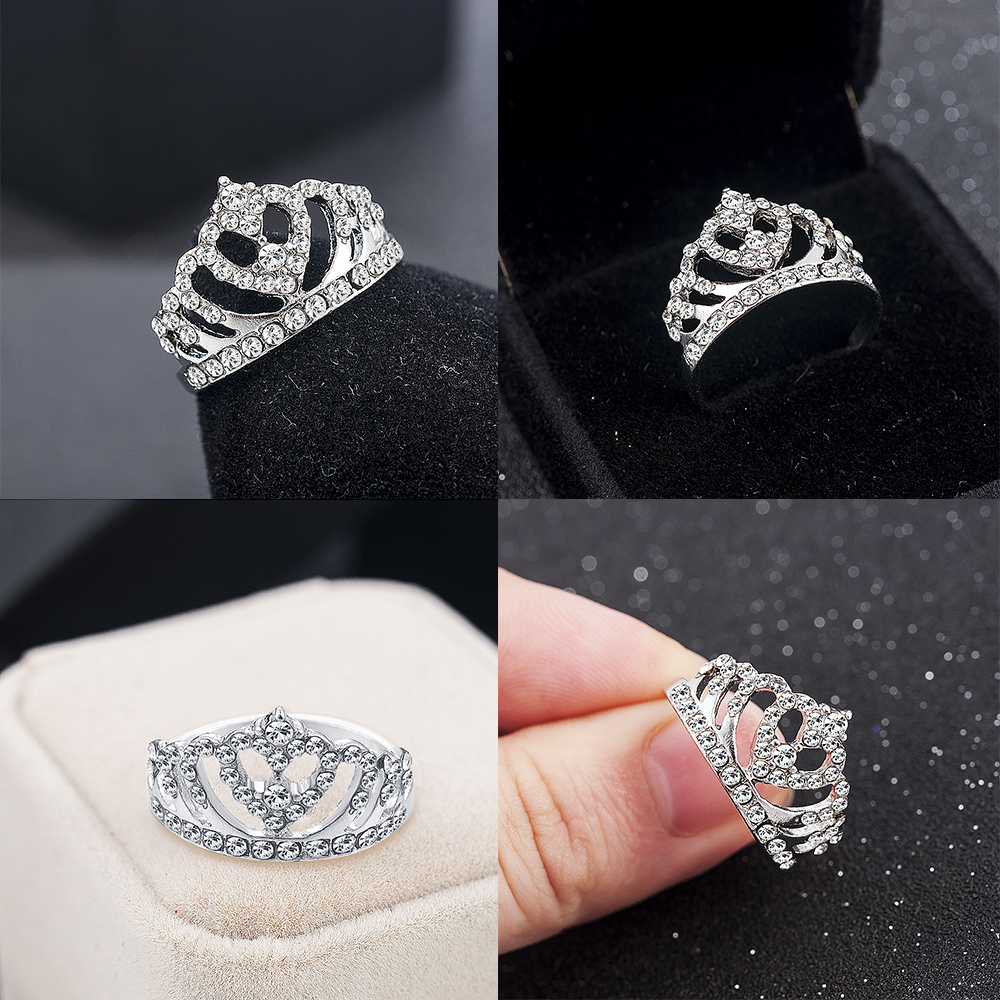 2020 New Fashion Crown Shape Rhinestone Crystal Rings Women Girl Wedding Bridal Party Ring Jewelry engagement ring 2