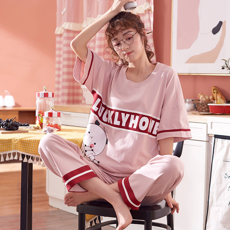 Short Sleeve Trousers Pajamas Women's New Style Cute Cartoon Spring And Autumn Air Conditioning Clothes Half Sleeve Tracksuit La