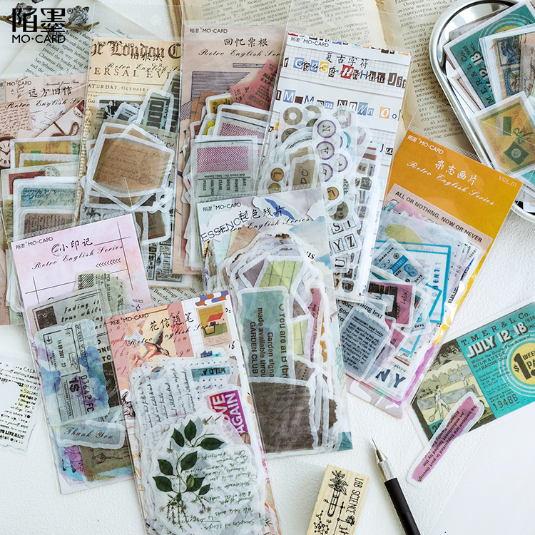 60 Pcs/1lot Simple Retro English Series Diary Planner Decorative Mobile Stickers Scrapbooking Craft Stationery Stickers