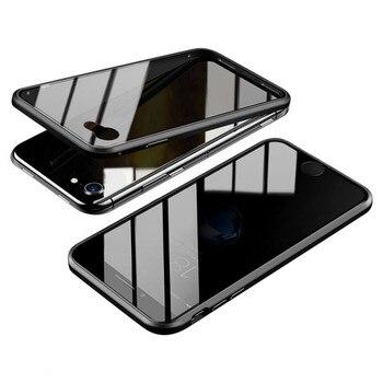 Ɗ�のぞき磁気強化ガラススクリーンプロテクターバンパー Iphone 7/8 Ã�ラス X/XS/XR/XS Ɯ�大 Iphone 11/11Pro/11 Ã�ロマックス