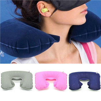 2019 New U-Shaped Inflatable Pillow Inflatable U Shaped Car Flight Travel Nap Head Rest Air Cushion Neck Pillow Office Pillow image
