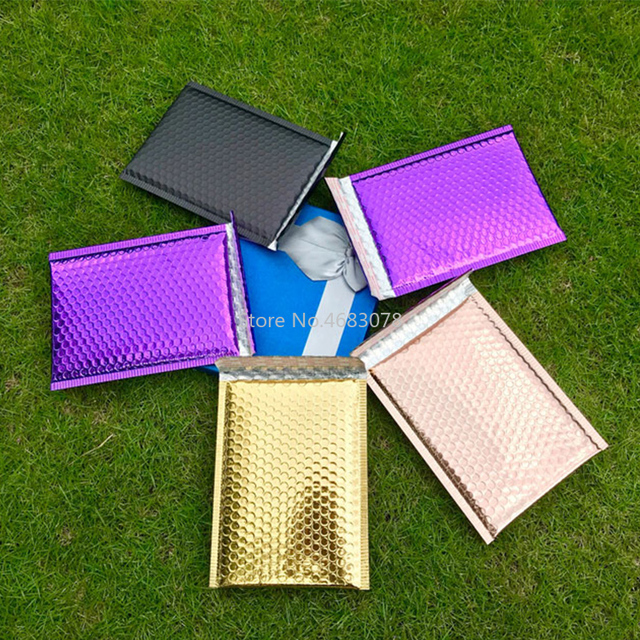 Sobres de correo impermeables con bolsa de burbuja de color púrpura polivinílico, 25 uds., bolsa de regalo de superficie brillante para cumpleaños, 18x23cm + 4cm