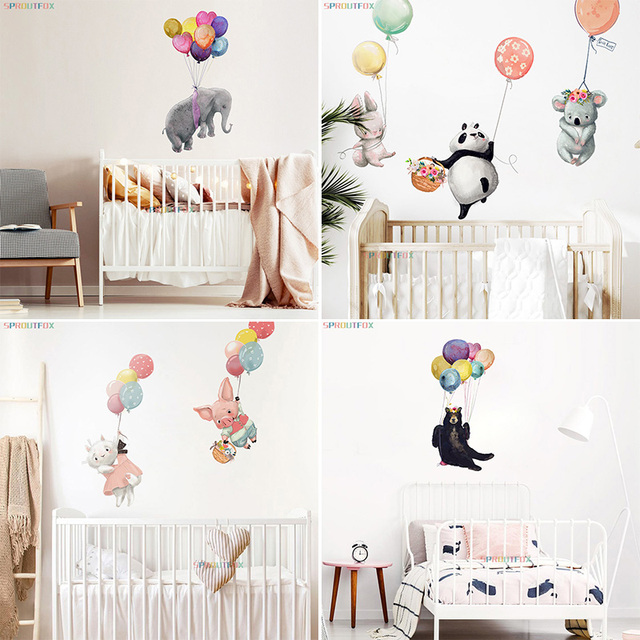 Animal Cartoon Wall Stickers For Kids Rooms Balloon Bunny Decorative 3D Wall Stickers For Children Rooms Large Kids Wall Decals 5