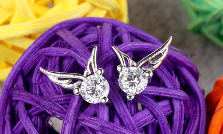 1 זוג יפה מלאך כנף דפוס קריסטל Rhinestones InlaidWoman מקסים עגיל תכשיטי אבזרים